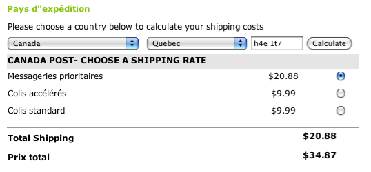 Shipping module Canada Post Wp e commerce